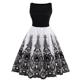 Vestido Vintage Blanco Y Negro Importado!!!!