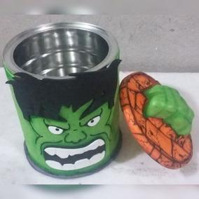 Lata Decorada Em Eva Tema Hulk