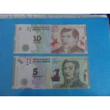 El Nuevo Billete De 10$ Y 5$ Argentino,sin Circular!!!