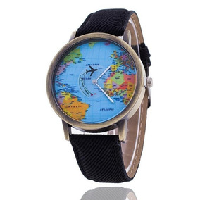 Relógio Volta Ao Mundo Mapa Mundi Preto Pulseira De Couro