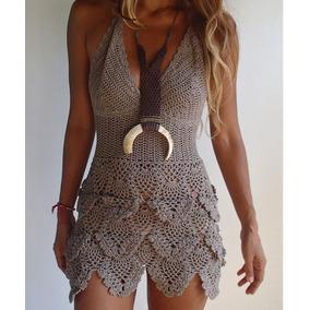 Vestido Crochê Saída De Praia Personalizado 100% Feito A Mão