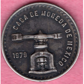 Moneda Mexicana Plata Onza Balanza 1979 Platina Azul P135