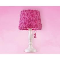 Abajur Infantil Mesa Barbie Flower Rosa Madeira E Tecido