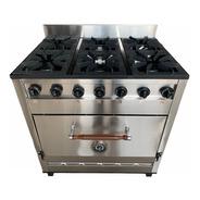 Cocina Industrial Pevi 6 Hornallas 85cm. Acero Inox.