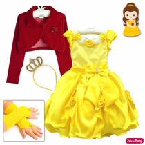 Vestido Bela E A Fera Luxo Festa Infantil Bolero Luvas Coroa