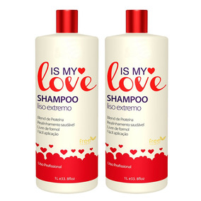Kit 2 Shampoo Alisante Liso Extremo Is My Love 1000ml