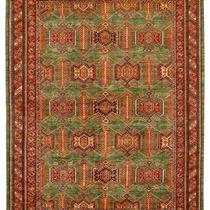 Alfombra / Tapete Handmade Afghan Kazak Rug, Green, 411 X6