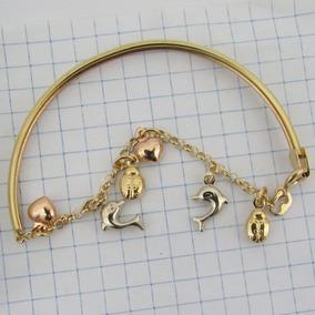 7325 Pulseira Argola 18 Cm Berloques De Ouro 18k 750 Com
