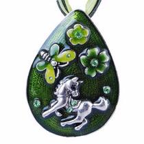Precioso Colgante Unicornio Pony, Color Verde