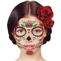 Tatuajes Temporales Calaveras Rosas Dia De Muertos Hallowen