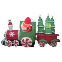 Santa Claus Tren Caramelo 8pies Adorno Navideño Inflable