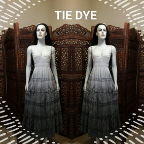 Vestido Longo Tecido Algodão Laise Lese Tie Dye Retro Festa