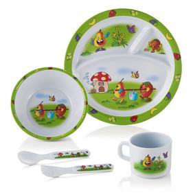 Prato Infantil Bebê Kit C/ 5 Peças Frutas Baby Style