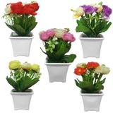 10 Arranjo De Flores Artificiais C/ Vaso Planta Decorativo.