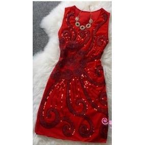 Vestido De Festa Vermelho Com Lantejoulas