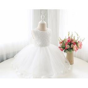 Vestidos Elegantes Para Niñas Bebes Bodas Bautizos Blanco
