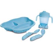 Kit Alimentação Bebê Prato Com Divisórias Copo E Colheres