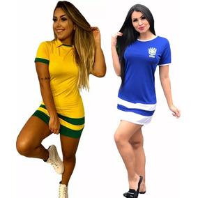 Vestido Regata Feminina Curto 3d Brasil Copa Futebol 2018