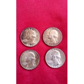 4 Monedas Plata Antiguas Quarter Dollar 1964 De Coleccion