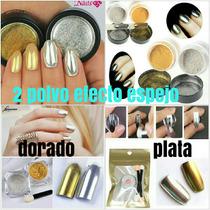 Polvo Efecto Espejo Uñas Acrilicas Plateado O Dorado +envio