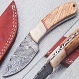 Cuchillo De Acero Damasco Cachas De Hueso De Camello Y Olivo