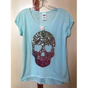 Camiseta Pink Victoria Secret Caveira Lantejoula Original