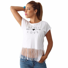 Playera Blusa Camiseta Dama Paz Y Amor Flecos Envio Gratis