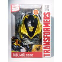 Lampara De Pared 3d Deco Light Led Transformers Bumblebee