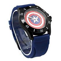 Capitán América Goma Azul Escudo Watch (cta1101)