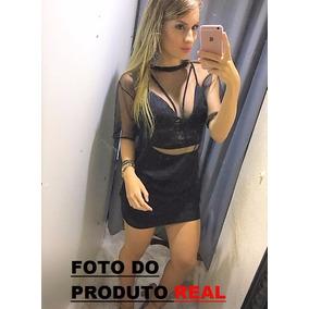 Conjunto Blusa + Top + Saia Moda Blogueira Saia Justa Preto