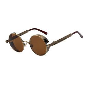 f44d2f73f5170 Culos Redondo Marrom Com Ferrinho Dourado Brinde De Sol - Óculos no ...
