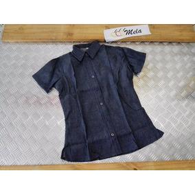 Camisa D Blue Jeans De Mujer Manga Corta Talla Xl Talla Plus
