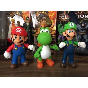 Kit Com 3 Bonecos Super Mario Bros Mario Luigi Yoshi