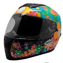 Capacete Nasa Helmets Flowers Sh 821 Preto Nº56 T/opções