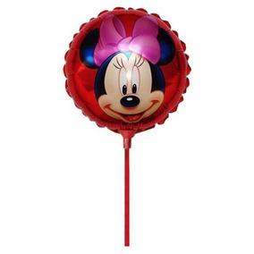 10 Unid. Balão Metalizado Minnie P/ Mesa Tam 21 Com Vareta