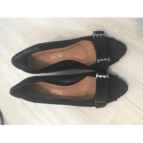 Sapato Peep Toe Preto Santa Lola Novo