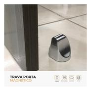 Trava Porta Magnético Cromado De Fácil Instalação Comfort