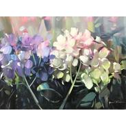 Obra/quadro Acrílico S/tela Painel Hortências 60x80cm