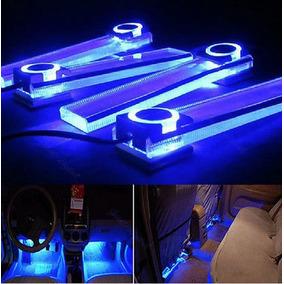 Set 4 Barras Led Azul Piso Vocho Vw Chevy Jetta