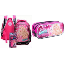 Mochila Costas Barbie Rockn Royals Tam G Rosa + Estojo