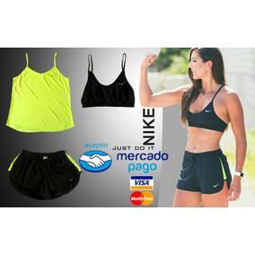 Conjunto Deportivo Para Dama Nike Top Short Blusa Gym
