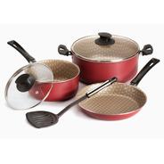 Batería De Cocina Antiadherente Jovifel Rivoli 4 Piezas Rojo