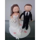 Noivinhos Topo De Bolo Biscuit Casamento - Branco Tradiciona