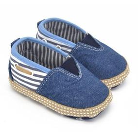 Sapatinho Bebe Menino Masculino Jeans Listrado Elegante