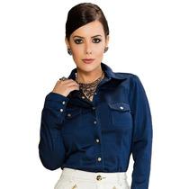 Camisa Camisa Jeans Casual Manga Longa Moda Evangélica