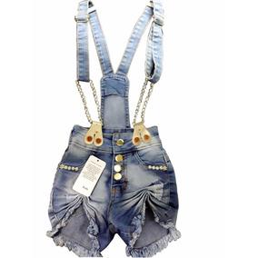 Jardineira Macacão Jeans Menina Infantil Corrente 1 Á 14