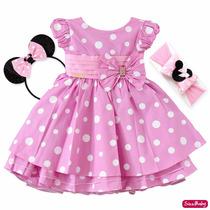 Vestido Infantil Festa Minnie Rosa Luxo Com Tiara E Faixa