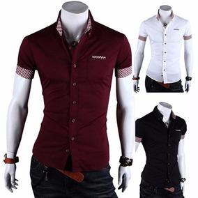 Camisa Social Masculina Slim Fit Camiseta Blusas Manga Curta