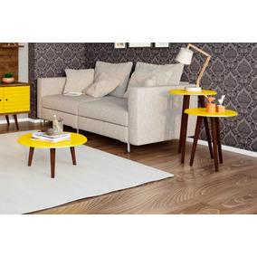 Mesa de centro no mercado livre brasil kit 3 mesas de centro e laterais sala de estar cor amarela altavistaventures Choice Image