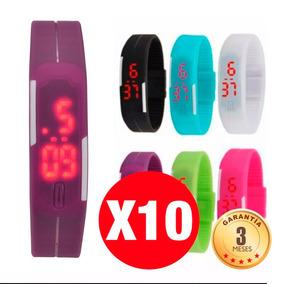 Pack De 10 Reloj De Silicona Led Deportivo Colores
